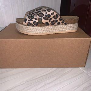 Shoes - Platform cork animal print sandals